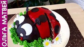 как сделать торт в виде божьей коровки
