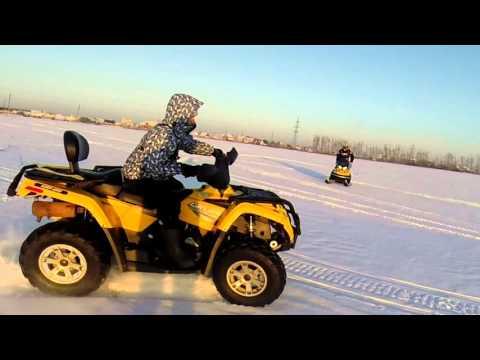 Квадроцикл Brp outlander 400 VS снегоход Brp tunrda 550. Зимние каникулы