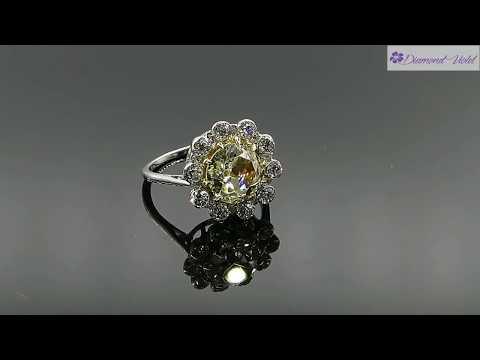 3 82CT ANTIQUE VINTAGE YELLOW OLD MINE DIAMOND CLUSTER ENGAGEMENT WEDDING RING