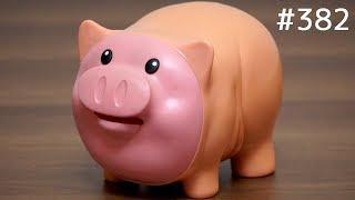 お金を食べるブタの貯金箱がおもしろい!音が鳴る!顔が動く!【玩具紹介】#382