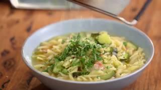 San Remo Pasta Recipes: Zucchini, Pea, Bacon And Spirals Soup