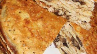 Блинчатый пирог с курицей, сыром и грибами  Пошаговый рецепт с фото