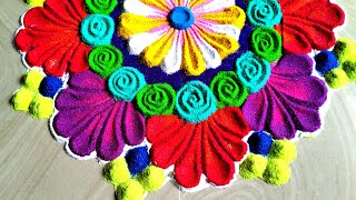 Beautiful and attractive freehand rangoli using spoon
