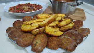 Kadınbudu Köftesi İle Enfes Bir Menü/Fırında Soslu Patates/un Çorbası/Acılı Ezme/Seval Mutfakta