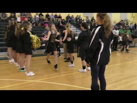 Starting lineups of Bennett & Pollard Middle School Girls Basketball Teams - 2.12.20