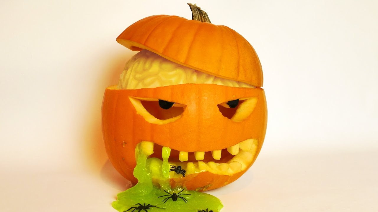 Halloween Pumpkin Carving Idea with Brain and Slime! - YouTube