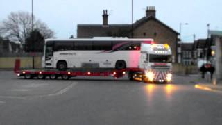 New Sovereign Low-Loader (BU51TOW) Leaving Southend Bus Station with A First Coach On The Back(This truck is new to Sovereign Recovery and this was its first job with the company today after being collected this morning. Thanks to the drivers for tooting the ..., 2013-03-21T22:54:37.000Z)