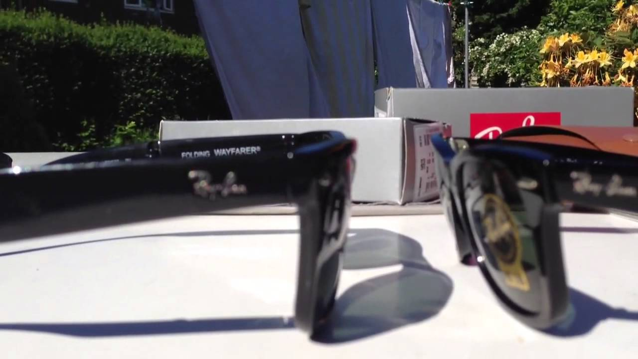 ray ban wayfarer imitation  Ray Ban Original and Folding Wayfarer comparison/review - YouTube