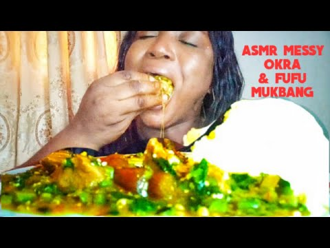 Asmr Nigerian Okra & Fufu, Beef, Eating with hands (no talking) Mukbang  Mukbang Food Mom