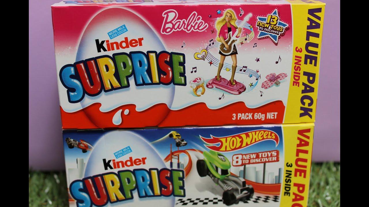 Kinder Surprise Barbie vs Hot Wheels chocolate egg surprise toy