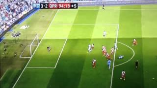 aguero 94th minute goal man city 3 2 qpr 13 05 2012