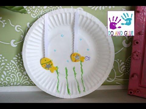 Kindergarten Craft  How to Make a Paper Plate Aquarium