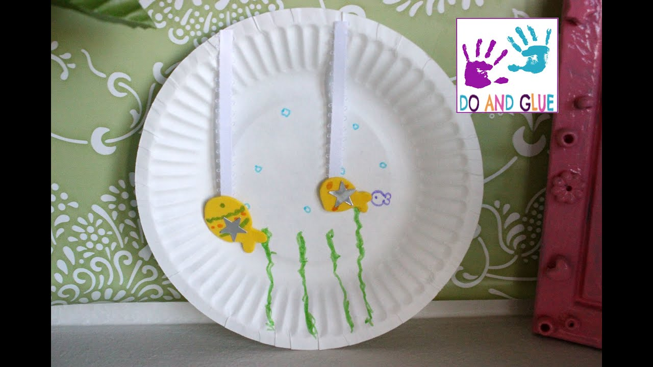 Kindergarten Craft How to Make a Paper Plate Aquarium - YouTube