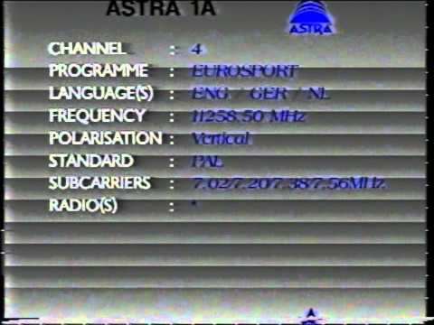 Astra 1A/1B Frequencies 1991