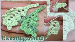Crochet Curved Leaf Урок 4 Вязаный листочек