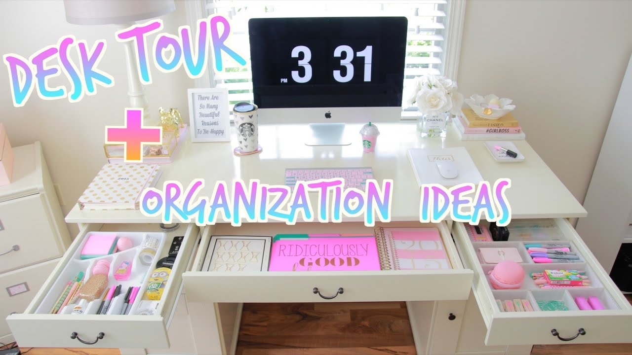 Desk tour how to organize your desk youtube - How to organize your desk at home for school ...