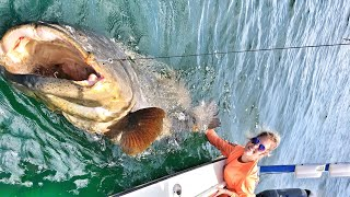 Fishing Girl Saved By Boyfriend Shark & Goliath Grouper Fish