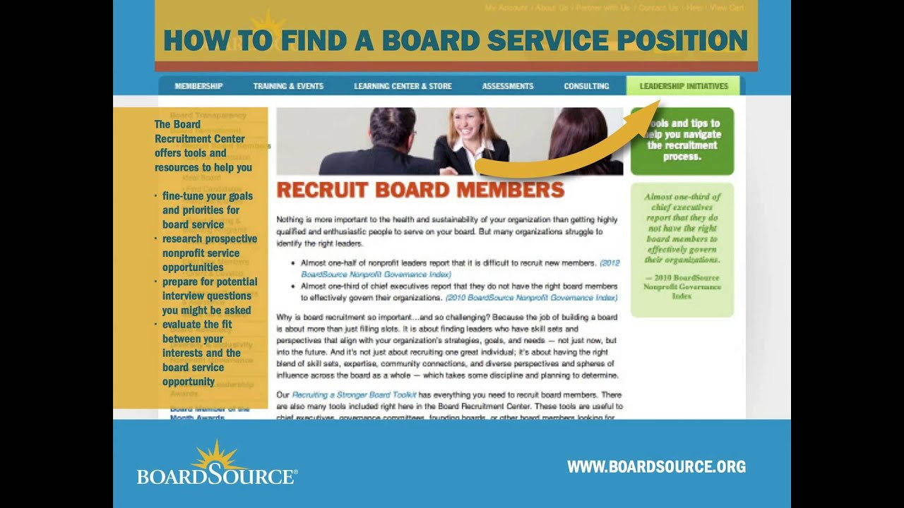 Find Board serve on a nonprofit board - boardsource