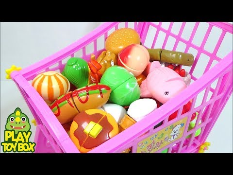 Toy Cutting Velcro Fruit Vegetables Shopping Trolley Kart Basket Groceries Learn Names