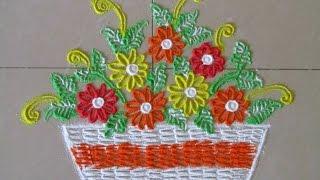 Easy and small flower bucket rangoli design | Innovative rangoli by Poonam Borkar