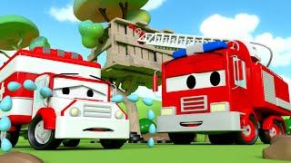 Der Streifenwagen in Autopolis -  Ambers Martinshorn ist verschwunden - Cartoons für Kinder 🚓 🚒