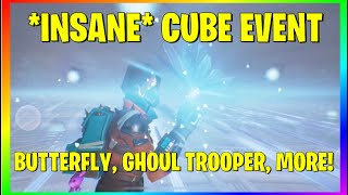 *NEW* FORTNITE: AMAZING *CUBE* EVENT! BUTTERFLY EVENT MAP DESTROYED?? **CRAZY** - New Ghoul Trooper!