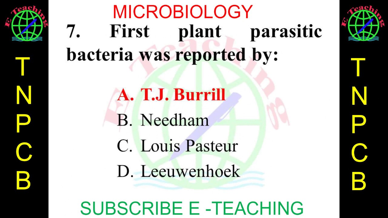 Important Questions for TNPCB Environmental Scientist & AE chapter  Microbiology MCQs TNPCB 2019