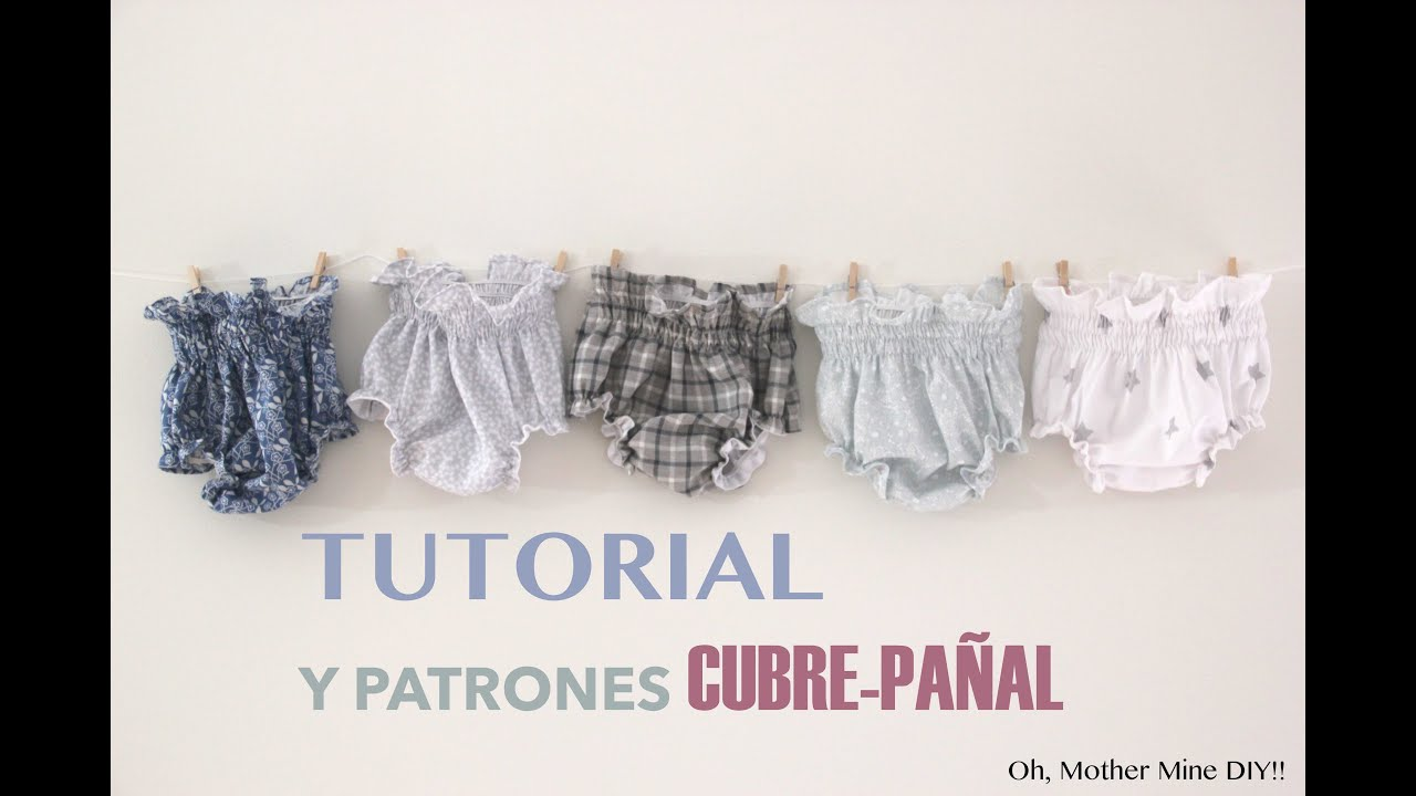 DIY Tutorial y patrones gratis: BRAGUITAS CUBRE-PAÑAL - YouTube