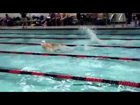 Shawnee Heights High School Swim Team Winning the 100 Fly at Lawrence High School Invitational 1/16