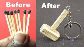 How to Make a Miniature Thor's Hammer Keychain with Matchsticks - DIY