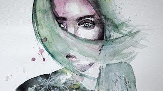 Watercolor Portrait - Speedpainting - Shadow in her face