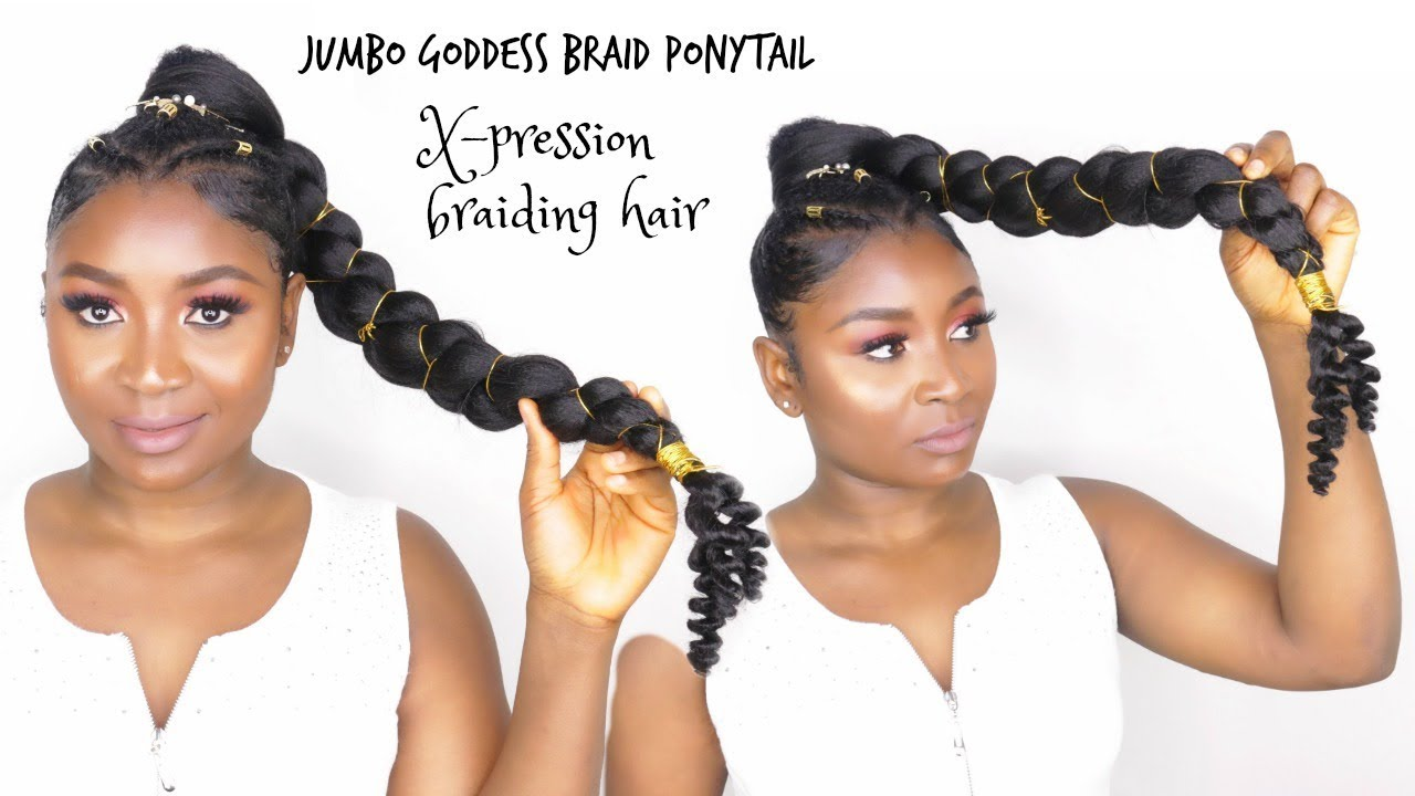 how to do jumbo goddess braid ponytail with x pression braiding hair