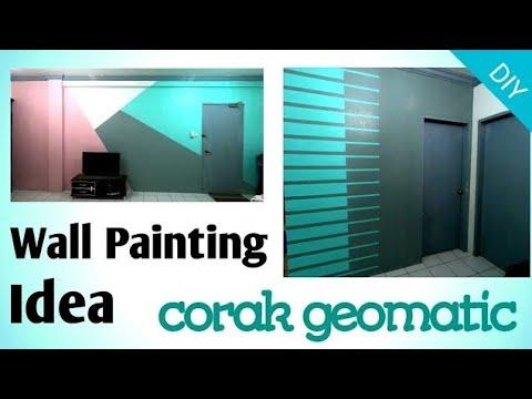 cara-cat-dinding-ruang-tamu-rumah-|-motif-geomatric-|-corak-cat-dinding-rumah-|-diy