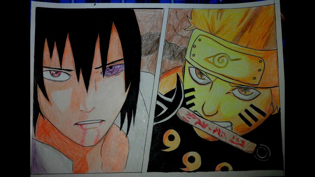 Draw Naruto Rikudo Sennin & Sasuke Rinnengan With pencil ...