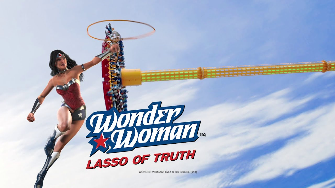 Wonder Woman World'S Tallest Pendulum Ride Six Flags Great Adventure 2019   Theme Park Review 00:48 HD