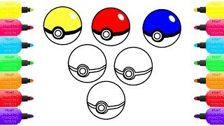 Coloring Pages Colorfull Pokemon Ball for kids | Draw and Learn colours for children