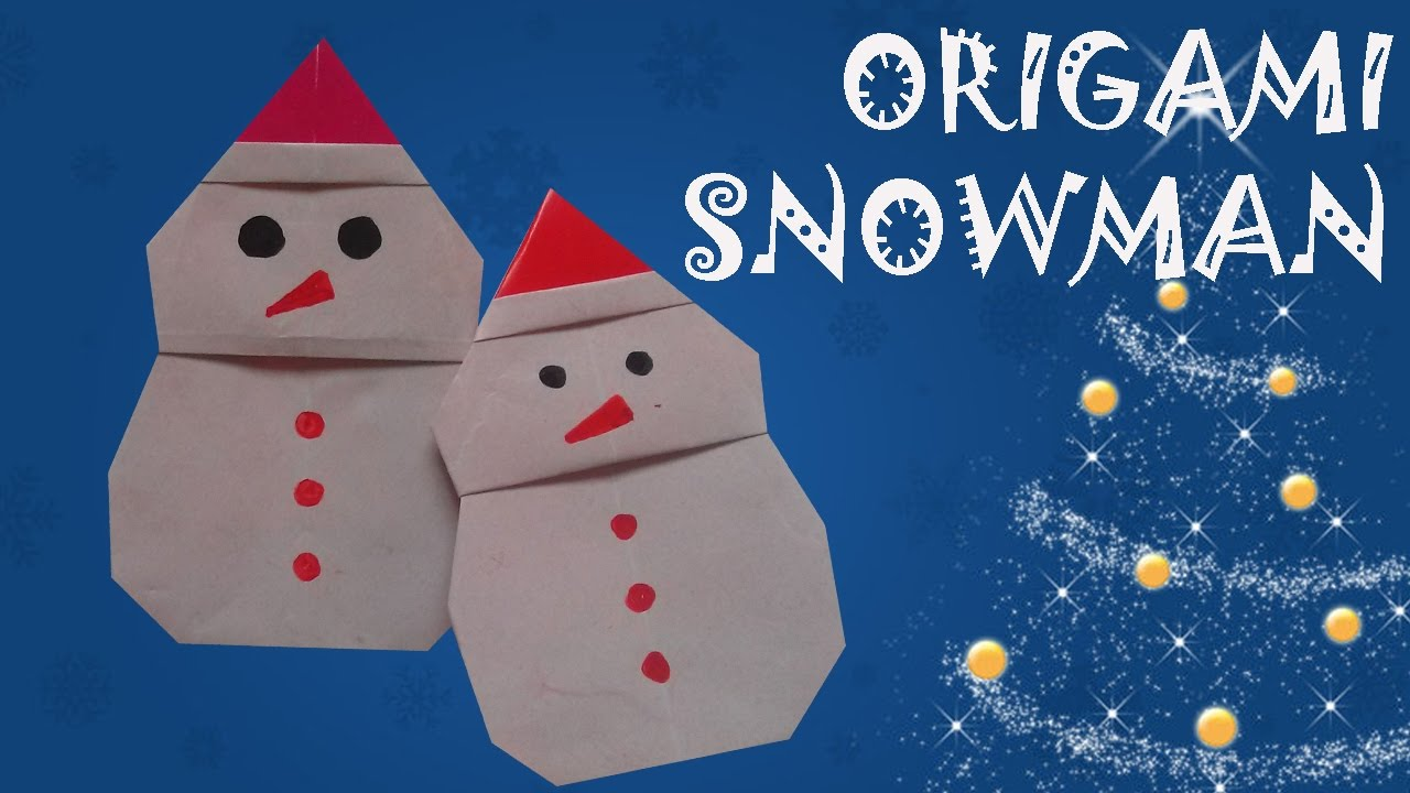 origami snowman origami easy youtube. Black Bedroom Furniture Sets. Home Design Ideas