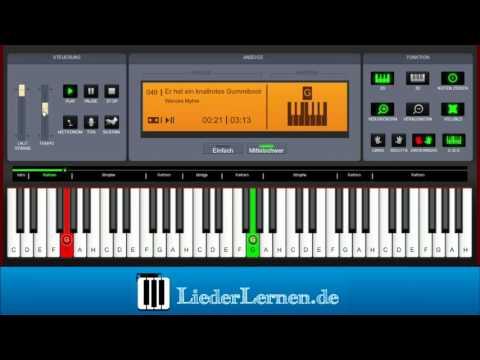 Wencke Myhre - Er hat ein knallrotes Gummiboot - Klavier lernen - Musiknoten - Akkorde
