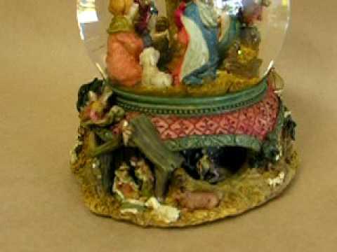 Nativity Scene Snow Globe Music Box