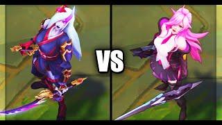 Blood Moon Katarina vs Battle Academia Katarina Epic Skins Comparison (League of Legends)