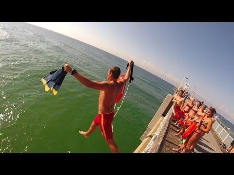 Beach Safety LifeGuard Pier Jump!