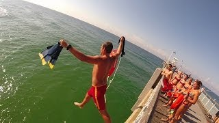 Beach Safety LifeGuard Pier Jump!