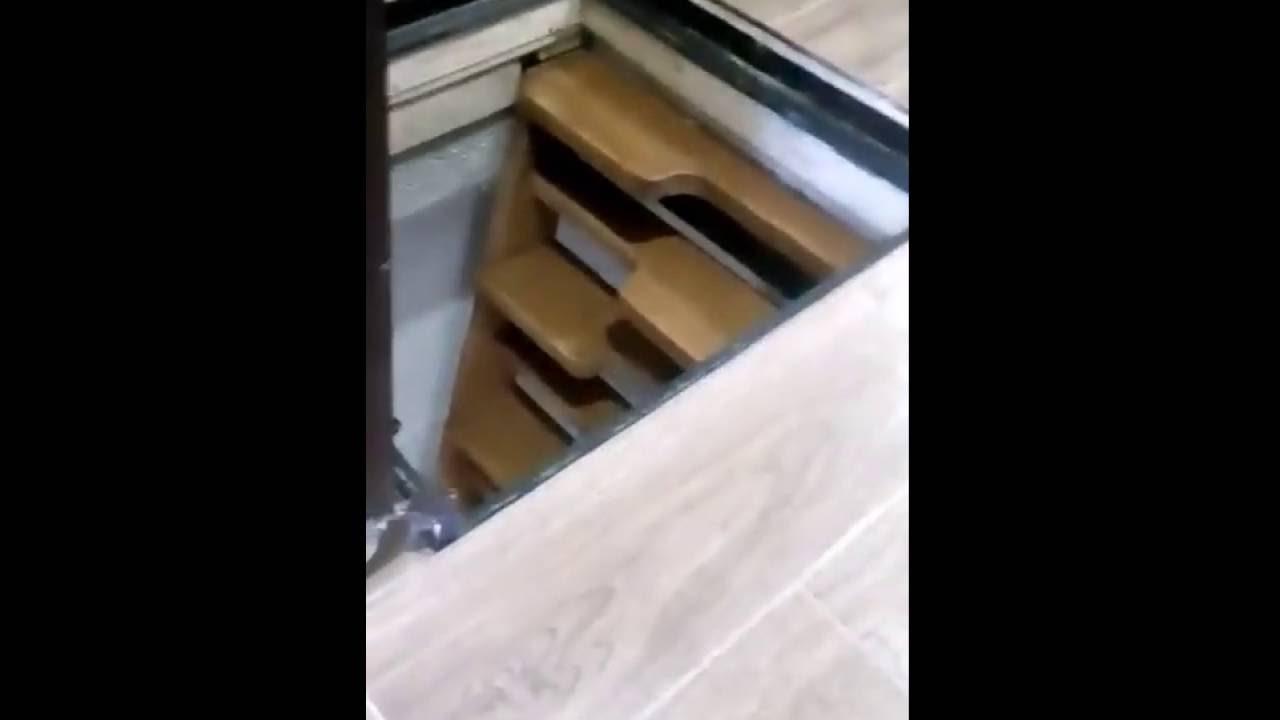 Напольный люк в подвал с амортизаторами - YouTube