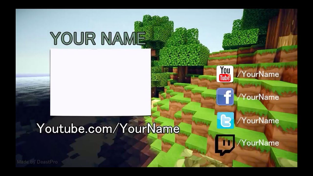 Free epic minecraft outro template youtube for Minecraft outro template movie maker
