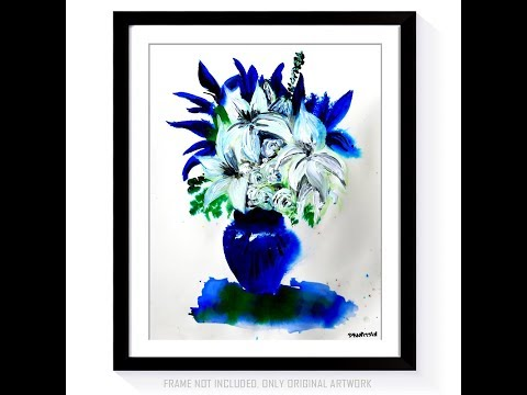 BEAUTIFUL IN BLUE   WATERCOLOR ACRYLIC PAINTING WHITE FLOWERS IN BLUE VASE BY PETER DRANITSIN