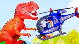 Мультики про динозавров и машинки для мальчиков Побег Видео с игрушками Мультфильм про полицию
