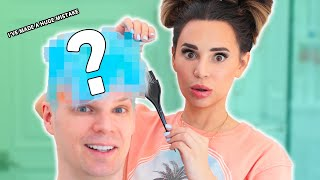 My Girlfriend DYES MY HAIR Blue! w/ Rosanna Pansino!