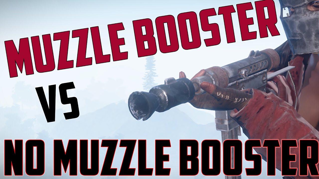 Rust Custom Smg Muzzle Booster Vs No Muzzle Booster Youtube