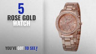 Top 10 Rose Gold Watch [2018]: Geneva Platinum Analogue Rose Gold Dial Women's Watch (204)