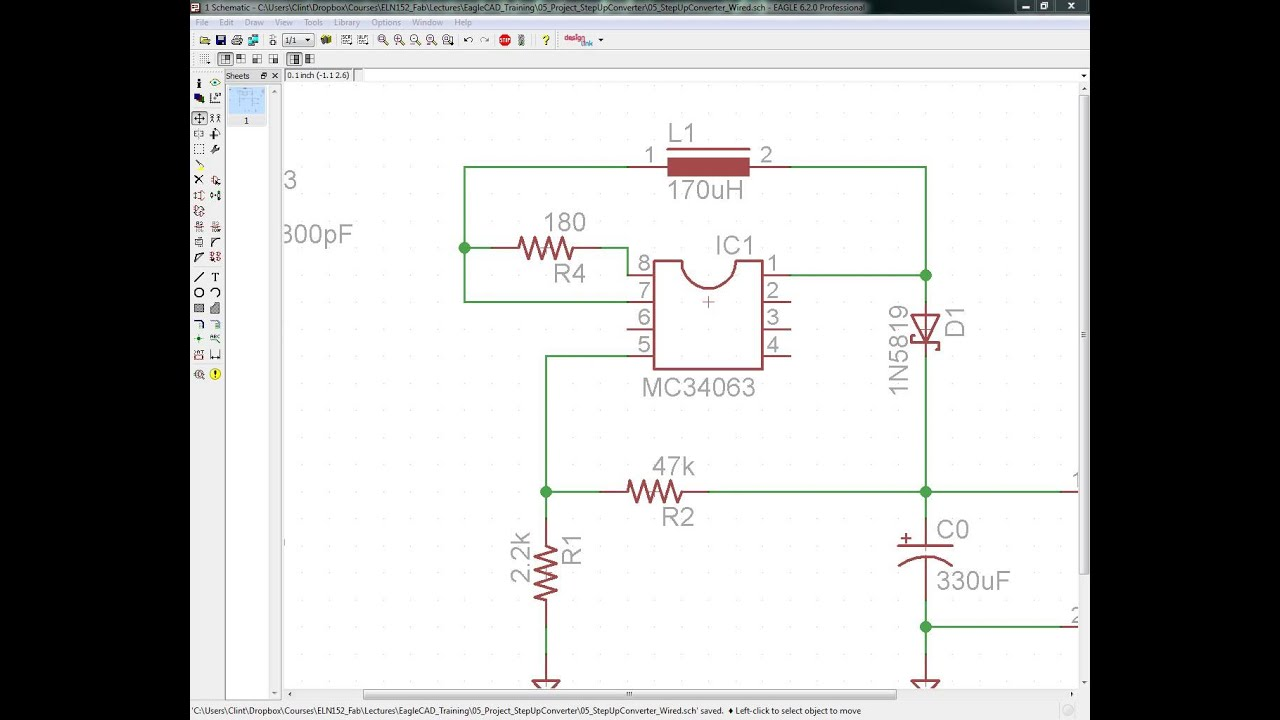 Training Video 1: Eagle CAD Step-Up Voltage Regulator Schematic ...